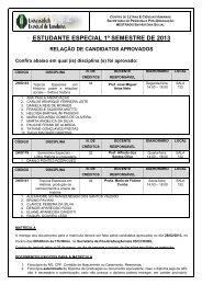 estudante especial 1º semestre de 2013 relação de candidatos ...