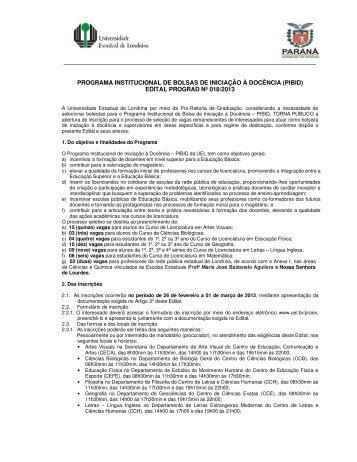 Programa Institucional de Bolsas de Iniciação à Docência (PIBID)