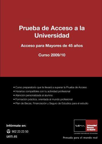 Prueba de Acceso a la Universidad - Universidad Europea de Madrid