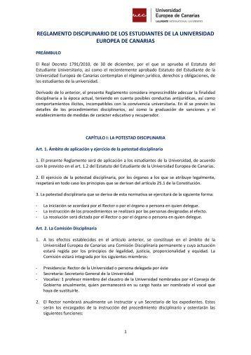 reglamento disciplinario de los estudiantes de la universidad ...