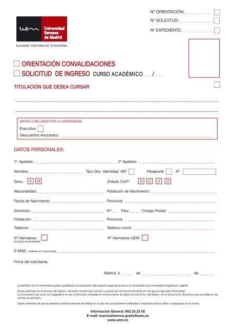 Solicitud De Ingreso Universidad Europea De Madrid