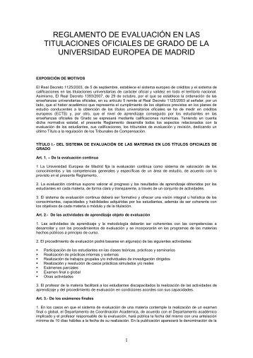 Reglamento de Evaluación en las titulaciones Oficiales de Grado