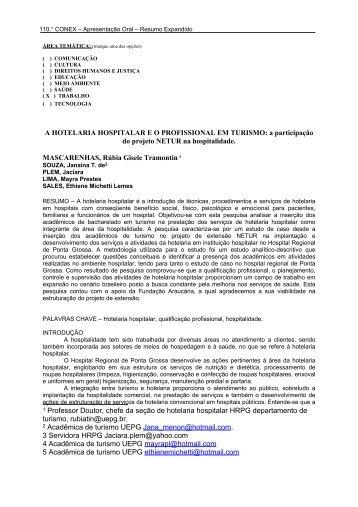 A HOTELARIA HOSPITALAR E O PROFISSIONAL EM TURISMO: a ...