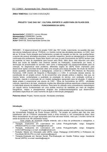 """projeto """"caic das 16h"""" - Universidade Estadual de Ponta Grossa"""