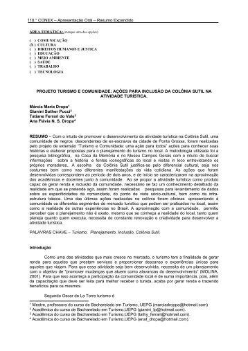 projeto turismo e comunidade - Universidade Estadual de Ponta ...