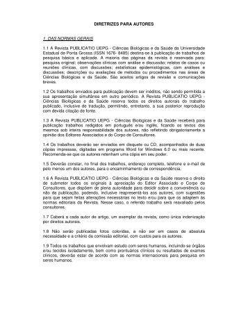 Normas Publicátio - Universidade Estadual de Ponta Grossa