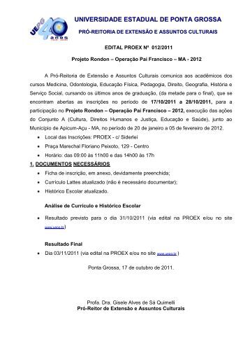 edital - Universidade Estadual de Ponta Grossa