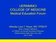 Medical Education Forum, July 4, 2009 - UERMMMC Alumni Foundation ...