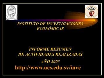 Informe de labores correspondiente al año 2005 - Universidad de El ...
