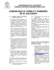 Comunicado del CSU al Pueblo y Gobierno de El Salvador ...