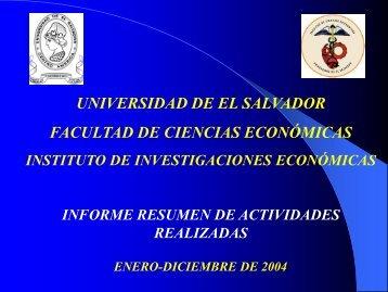 Informe de labores correspondiente al año 2004 - Universidad de El ...