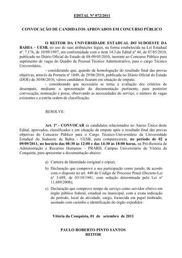 convocação dos candidatos em situação de empate - Uesb