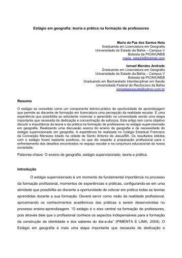 Estágio em geografia: teoria e prática na formação de ... - Uesb