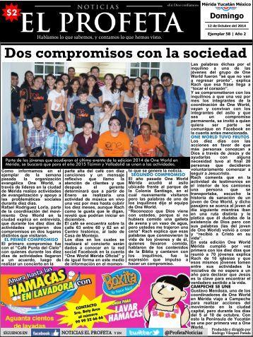 Noticias El Profeta 12 Octubre 2014 Ejemplar 58