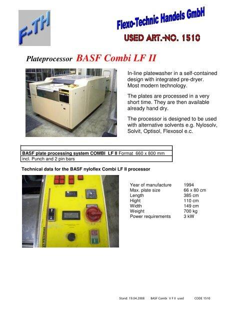 Plateprocessor BASF Combi LF II - Flexo-Technic