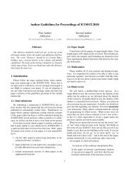 Author Guidelines for Proceedings of ICOSST-2010