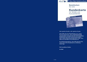Bestellschein Kundenkarte für Schüler und Auszubildende - RMV