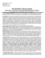 The UFA Win a Shop Contest OFFICIAL CONTEST ... - UFA.com