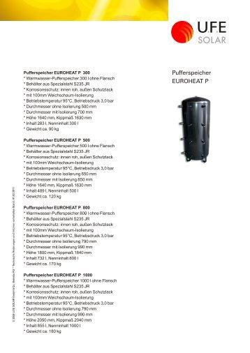 Pufferspeicher EUROHEAT P - UFE Solar