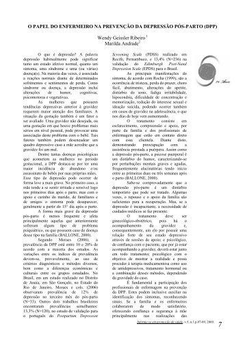 o papel do enfermeiro na prevenção da depressão pós-parto ... - UFF