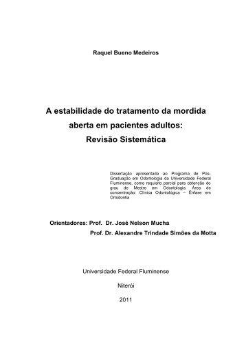 A estabilidade do tratamento da mordida aberta em pacientes ... - UFF