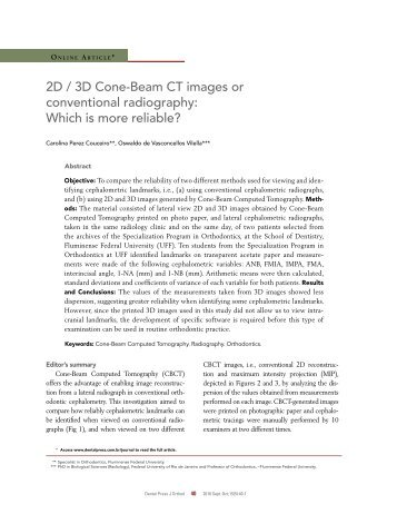 2D / 3D Cone-Beam CT images or conventional radiography - SciELO