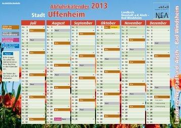 Abfuhrkalender blaue Tonne - Uffenheim