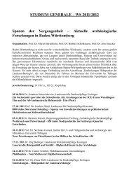 STUDIUM GENERALE – WS 2011/2012 Spuren der Vergangenheit ...