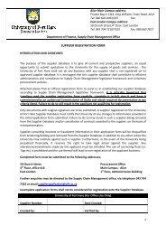 SUPPLIER REGISTRATION FORM - University of Fort Hare