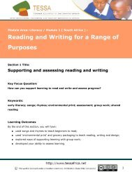 Supporting and assessing reading and writing