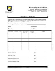 Overtime Claim Form - University of Fort Hare