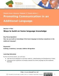 Ways to build on home language knowledge - University of Fort Hare