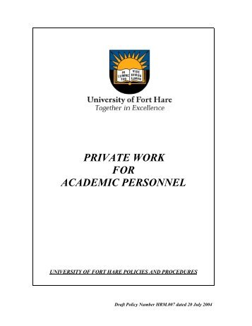 private work for academic personnel - University of Fort Hare