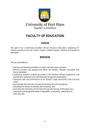FACULTY OF EDUCATION - University of Fort Hare