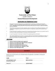 Application for Sabbatical Leave - University of Fort Hare