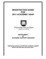 registration guide for 2011 academic year - University of Fort Hare