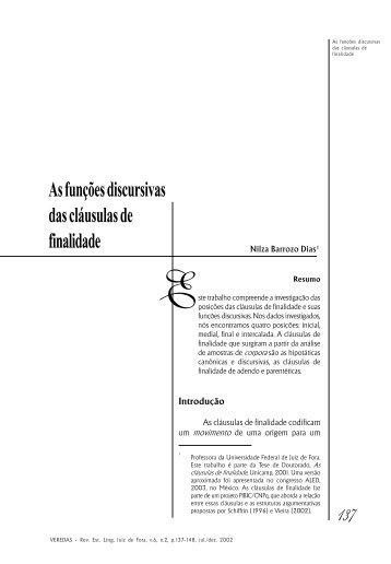 As funções discursivas das cláusulas de finalidade - Universidade ...