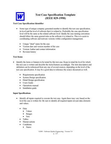 Software test plan stp template items that are intended for Ieee 829 test strategy template