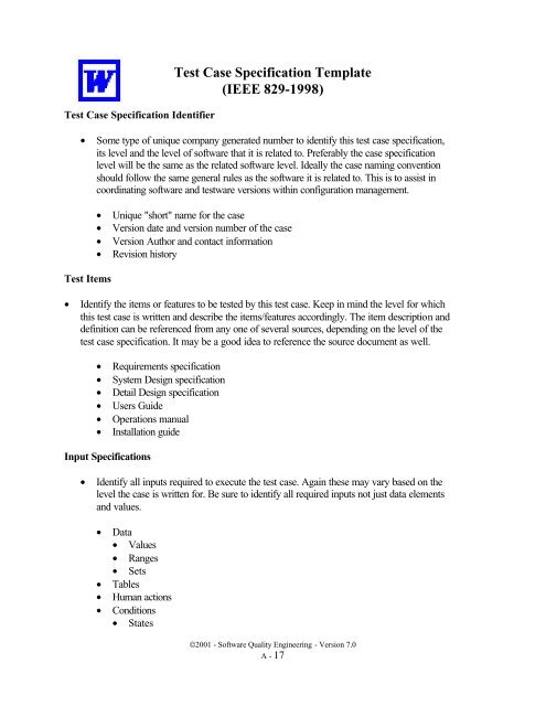 Test Case Specification Template Ieee 829 1998