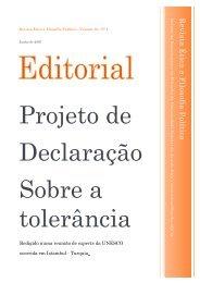 Editorial: Projeto de Declaração sobre a Tolerância