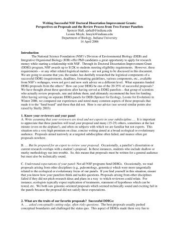 Writing Successful NSF Doctoral Dissertation ... - Indiana University