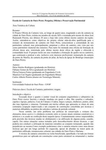Escola de Cantaria de Ouro Preto: Pesquisa, Oficina e Preservação ...