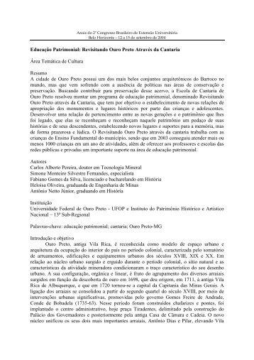 Educação Patrimonial: Revisitando Ouro Preto Através da Cantaria ...