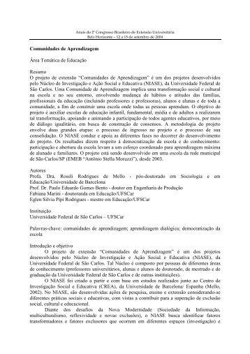 Comunidades de Aprendizagem - Universidade Federal de Minas ...