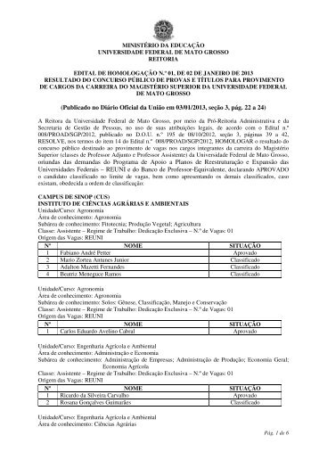 (Publicado no Diário Oficial da União em 03/01/2013, seção ... - UFMT