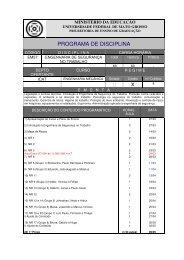 PROGRAMA DE DISCIPLINA - UFMT