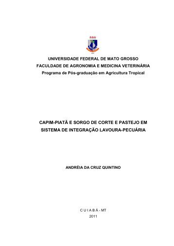 CAPIM-PIATÃ E SORGO DE CORTE E PASTEJO EM ... - UFMT