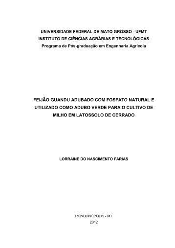 Feijão guandu adubado com fosfato natural e utilizado ... - UFMT