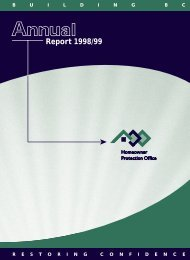 HPO Annual Report 1998 - Homeowner Protection Office