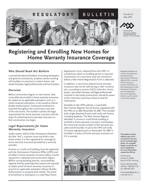 Registering And Enrolling New Homes For Home Warranty Insurance